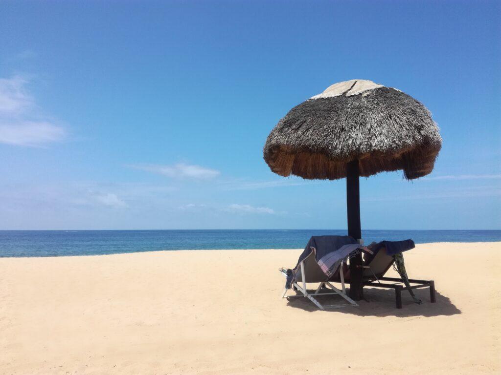brown beach umbrella on beach during daytime